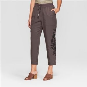 Knox Rose Embroidered Jogger Ankle Gray Pants XL